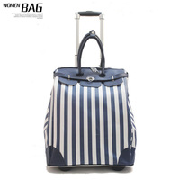 Free Shipping  Stripe color block PU travel bag large capacity fashion bag boarding trolley bag luggage female