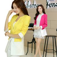 2014 Autumn New Arrival Elegant Slim Patchwork Long Blazer Jacket Female  4 Colors 812