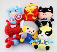 6Pcs/Lot 18CM Lovely Style SuperHero Plush Doll Toys The Avengers+SpiderMan+Batman+Iron Man+Captain America Brinquedos Meninas