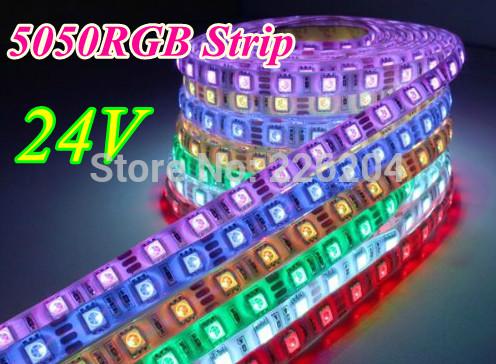 Free shipping led strip 5m 300 LED 5050 RGB 24V flexible light 60 led/m LED Dream Color strip(China (Mainland))