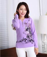 Fast free shipping high quality 2014 autumn national trend ink print V-neck long-sleeve T-shirt basic shirt