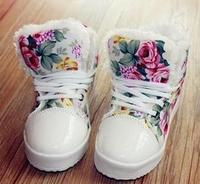 Free shipping 2014 baby girls winter high-top canvas brand kids Korea princess flower heavy-bottomed platform shoes sapatos 002