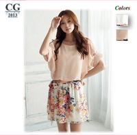 New 2014 Summer Dress Women's Patchwork Batwing Sleeve Chiffon Mini Casual Dress Cute Floral Dresses#CGD031