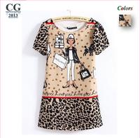 New 2014 Spring Summer Women's Cartoon Girl Leopard Printed Mini Fashion Chiffon Dresses Short Sleeve Girl Casual Dress#CGD034