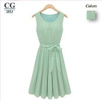 New Fashion 2014 Women's Sleeveless Pleated Chiffon Casual Summer Dress S/M/L/XL Plus Size#CGD027