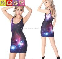 2015 Slim starry sky Sexy Women Clubwear Dress Leather Look Sleeveless  Crew Neck Party Midi XS-XL