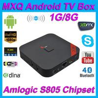 MXQ Android 4.4 Amlogic S805 Quad core A5 1.5Ghz 1GB/8GB WIFI AP6181 XBMC 4K 1080P Bluetooth H.265 DTS Dolby DLNA Smart TV BOX