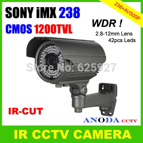 Security System CCTV Camera SONY IMX238 + AVS05P Super WDR CMOS 1200TVL 2.8-12mm Varifocal Lens IR-CUT OSD Menu For Outdoor(China (Mainland))