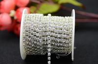 Free shipment 2.6mm Crystal rhinestones chain silver base for Garment Accessories