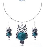 Star Jewelry  Europe and America owl imitate turquoise pendant&necklace rhinestone earrings set