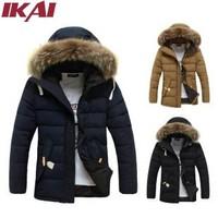 SMK0010-5 Men Winter Warm Parka 100% Cotton Thick Long Hooded Man Jacket Slim Fit Coat Fur Collar Down Jackets Men's Coats
