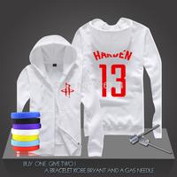 New James Harden #13  Basketball Super Star Hoodies Rockets Sweatshirt Men Zipper Hooded Cardigan Training Long-sleeved Tops