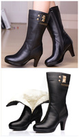 2014 aisimi snow boot, genuine leather women high heel boots  emu bottine femme  woman winter shoes womens boots hunters