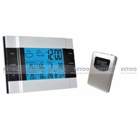 1pcs RF Wireless Weather Station with remote sensor  Indoor Outdoor Alarm Clock thermometer with Blue Backlight Free shipping