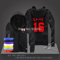 New Paul Gasol #16 Basketball Super Star Hoodies Chicago Sweatshirt Men Zipper Hooded Cardigan Training Long-sleeved Tops