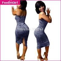 Wholesale DressTube Bodycon Jeans Bandge Off Shoulder Women Classy Club Dresses Casual Women Clothing Alibaba Express