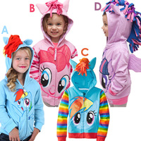 Free Shipping 2014New! Kids Girl Cartoon Autumn Pony Leah Children Wholesale Terry Hoodies coat size 80-120 5pcs/lot