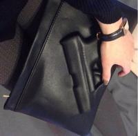 2014 New Women Designer 3D Gun Shoulder Bag Punk Rock Leather Pistol Handbag Purse Black Messenger Bag