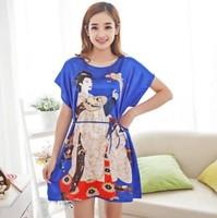 printed pijama women nightwear Nightgowns Floral sleepwear casual robe night dress home clothing
