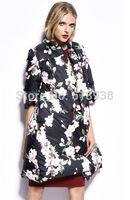 New 2014 fashion autumn winter fancy peach cherry floral patterns print loose down coat long coats outerwear sashes parkas