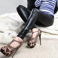 2015 New Women Faux Leather Leggings Fashion High-waist Stretch Material Pencil Pants Black Footless Legins