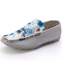 Flower Printed Men Leather Loafers Flats Eu 39-44 Korean Fashion Slip-on Style Urban Man Casual Boat Shoes