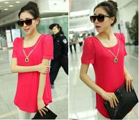 S-XXXL 2014 Summer Women's Korean Short-sleeved Shirt Long Solid Chiffon Loose Plus Size Bottoming Blouse Free Shipping #0002