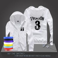 New Allen Iverson #3 Basketball Super Star Hoodies Philadelphia Sweatshirt Men Zipper Hooded Cardigan Training Long-sleeved Tops