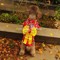 Lovely Big Bow Puppy Cotton Floral Japanese Kimono Teddy Poodle Pet Dog Clothes Costume Princess Dress XS S M L XL