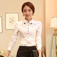 2014 Hitz Slim white shirt blouse ol professional long-sleeved blouses beaded lapel