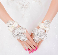 Luxury handmade pearl bridal gloves wedding  fingerless flowers lace gloves, , wedding accessories Free shipping wholesale