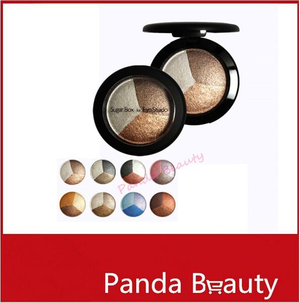 Baked Eye Shadow 3 Professional Colors matte Eyeshadow in a Eye Shadow Palette Sugar box for Eye Studio #4 Free shipping(China (Mainland))