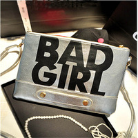 1pc 2014 Fashion European Style High Quality PU Leather Alphabetical BAD GIRL Clutch Shoulder Bag For women DP840057