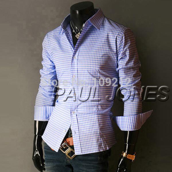 PJ New Fashion Casual Small Grid Long Sleeved Men Shirts Fashion Leisure Styles Slim Fit Stylish