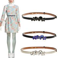 Free Shipping 2014 New Arrive Fashion PU Leather Women Belt With Acryl diamond Adjustable Fashion Thin Belts