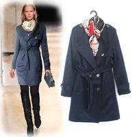 Top Quality!New Fashion European Warm Winter 2014 Women's Coat Wool Cotton Blends Epaulet Military Coat Adjustable Waist Outdoor
