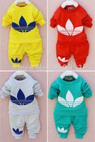 DJ retail 2014 New cotton Toddlers children baby boys girls autumn spring 2pcs clothing set suit Pattern baby shirt + pants sets