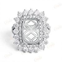 8.5x12mm Cushion 14k White Gold 2.12ct Cushion Brilliant Cut Diamond Engagement Wedding Semi Mount Ring