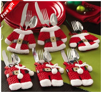 J.G Chen! 6 Pcs/Set Handmade Lovely Natal Clothes Pants Shaped Christmas Cutlery Suit Silverware Holder Knives and Forks Pockets