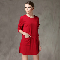 L-XXXXL Brand Loose Long Sleeve Knitted Casual Dresses With Pocket 2014 New Autumn Winter Plus Size Women Clothing work dress