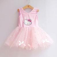 1PCS, Retail New 2014 Cute hello kitty Beautiful Dress For Girls cartoon sequins baby girls tutu Layered yarn dress pink