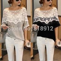 S-5XL New Women summer Lace T shirt Short Sleeve Female cloak Tops Hollow Crochet Shawl Collar Blusas Com Tulle Black White