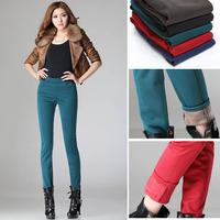 2014 Autumn Winter plus velvet thickening legging women's plus size pencil pants fleece warm pants female trousers Jeans