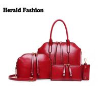 New Arrival Wax oiled Composite leather Bag Women Handbag Shoulder Crossbody Bag Handbag+Messenger Bag+Purse+Wallet 4 sets