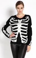 2014 Fall Winter Women Fashion Long Sleeve Pullover Knitting Sweaters Ladies Skull Print O-Neck Knitwear Tops SV17 SV008587
