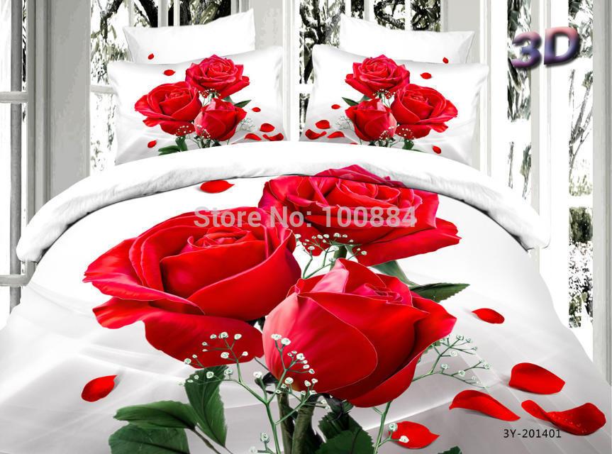 Rode Kleur Slaapkamer : delige slaapkamer sets dekbed rode roos ...