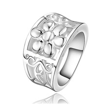 Hot Sell 925 silver ring fashion jewelry ring Fashion Hollow Flower design Finger Rings for women JZ5522