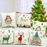 1Pcs Retro Cute Elk Design Decorative Pillows Cushions Sofa Bed Cushion Cover Pillowcase Cotton Xmas Home Decor dp673566
