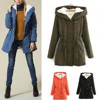 2014 New Women Winter Warm Long Sleeve Lamb Fleece Hooded  Jacket Outwear Thicken Parka Coat