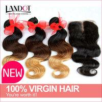 Ombre Brazilian Hair With Closure 4Bundles Three Tone 1B/4/27 Ombre Brazilian Body Wave Hair With Black Middle Part Lace Closure
